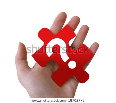 An isolated, Caucasian hand is holding a red puzzle piece with a question mark on it.