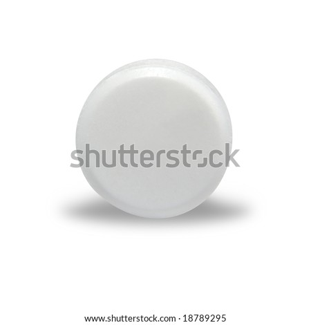 An isolated, circular, blank white pill with a shadow underneath it.