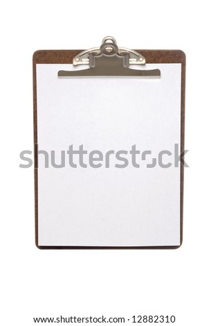 An isolated clip board with white sheet of paper for copy space.