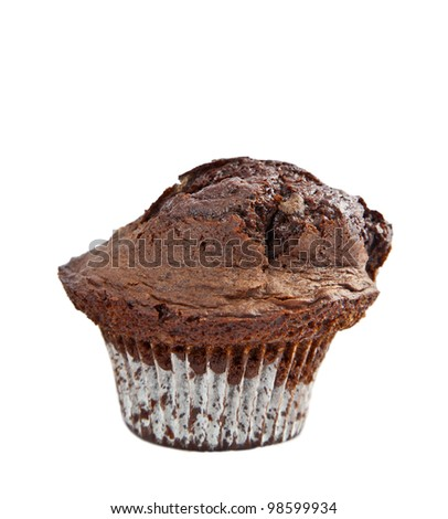 An isolated close up of a double chocolate muffin. - stock photo
