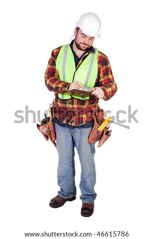 an isolated construction worker holding a clipboard