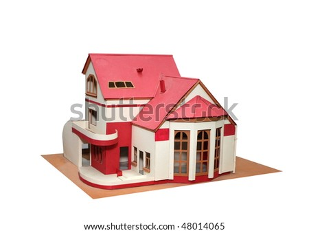 An isolated cottage mock up (scale model) on a white background