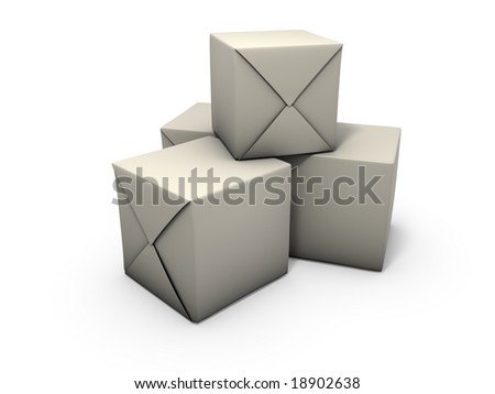 An isolated crates wrapped in paper on white background