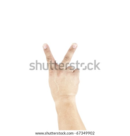 An isolated cutout of a hand doing the victory sign.
