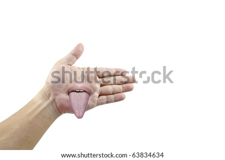An isolated cutout of a hand offering a handshake with a mouth in its palm jeering with its tongue.