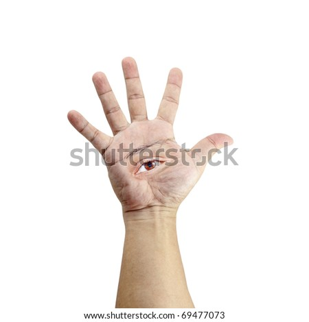 An isolated cutout of a hand with a brown eye on its palm.