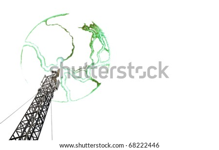 An isolated cutout of a radio transmission tower with electrical bolt radiating from the tip.