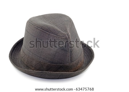 An isolated cutout of a trendy cotton material fedora hat.