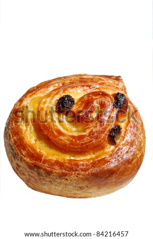 An isolated Danish Pastry / Pain à Raisin with clipping path included