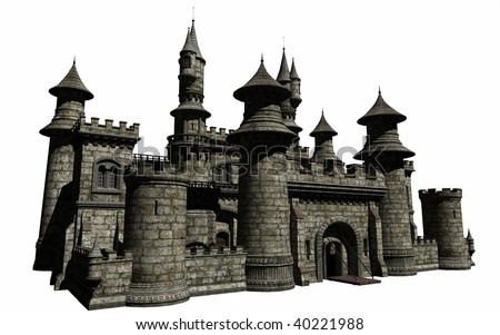 An isolated digital render of a Fairy Tale Castle