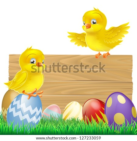 An isolated Easter Sign with Easter eggs and cartoon yellow chicks one of which is standing on the sign
