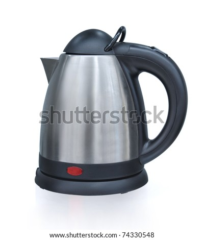 An isolated electric tea kettle on a white background.
