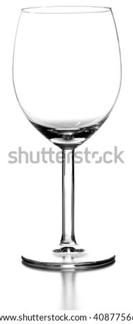An isolated empty wine glass