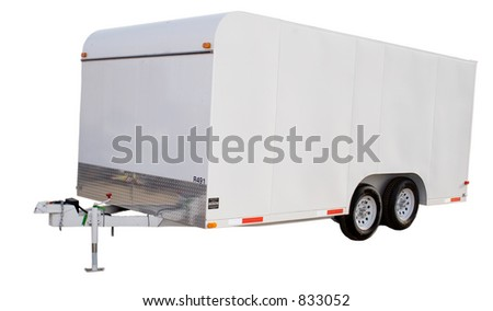an isolated enclosed trailer
