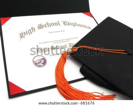 An isolated generic High School diploma with cap and tassel