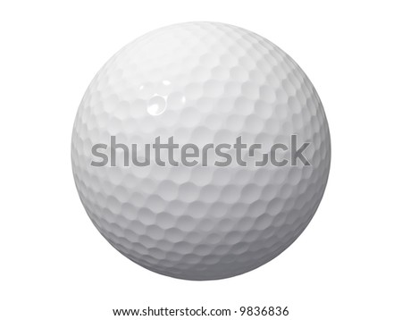 An isolated golf ball on white background