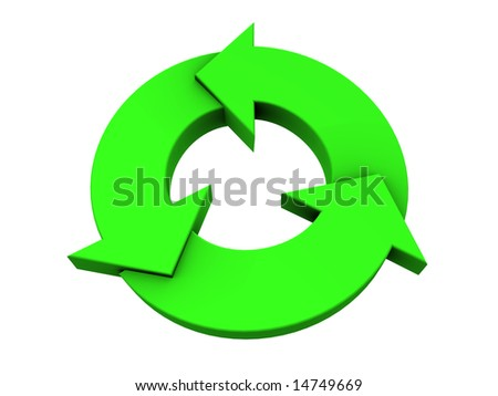 An isolated green recycle logo on white background