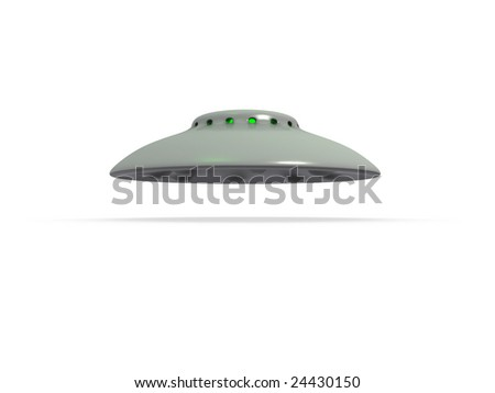 An isolated hovering gray ufo with green glowing windows on white background