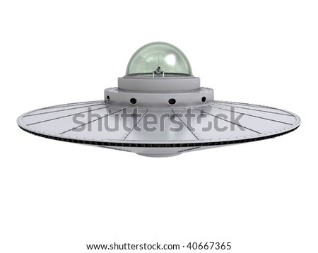An isolated hovering gray ufo with transparent dome on white background