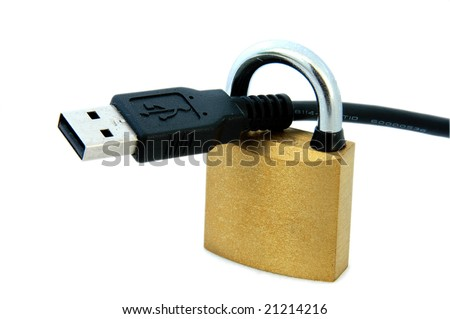 An isolated image of a padlock and USB Cable