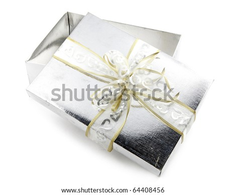 An isolated image of a silver gift box with a design pattern ribbon with bow.