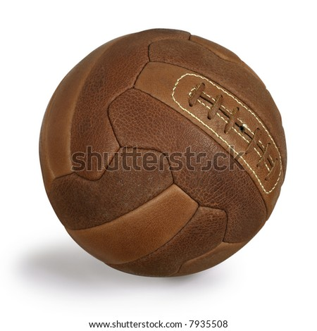An isolated image of an old retro leather soccer ball.