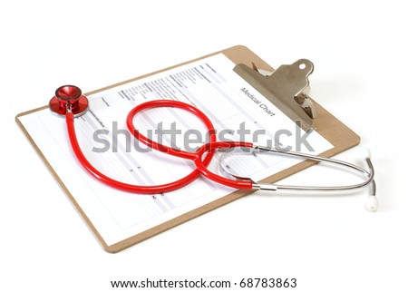 An isolated medical chart and stethoscope for the record of various diagnosis.