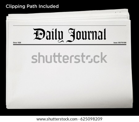 An isolated newspaper showing 'Daily Journal' as headline. #625098209