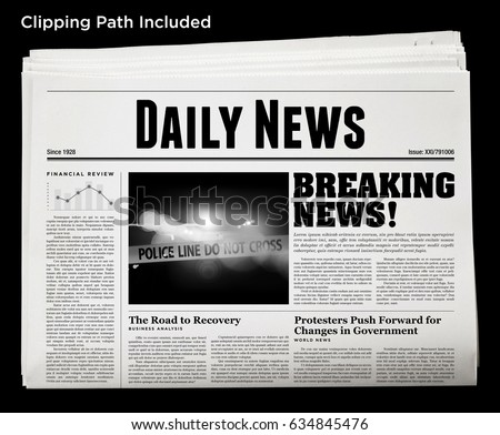 An isolated newspaper showing 'Daily News' as headline. #634845476