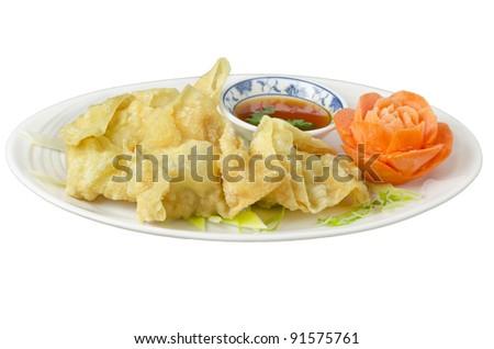 An isolated of deep fried wonton