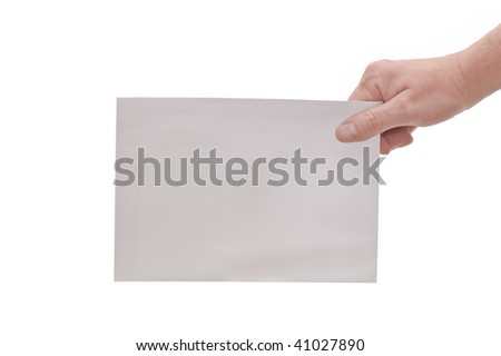 an isolated over white image of a caucasian man's hand holding or passing a large white plain envelope