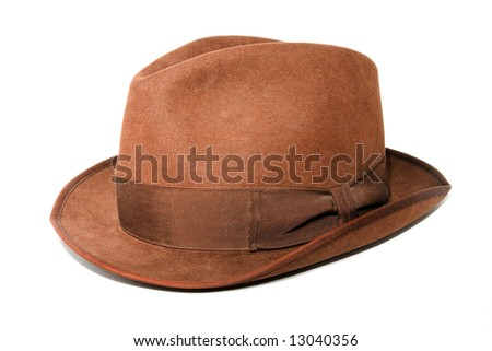 An isolated photo of a woman brown hat