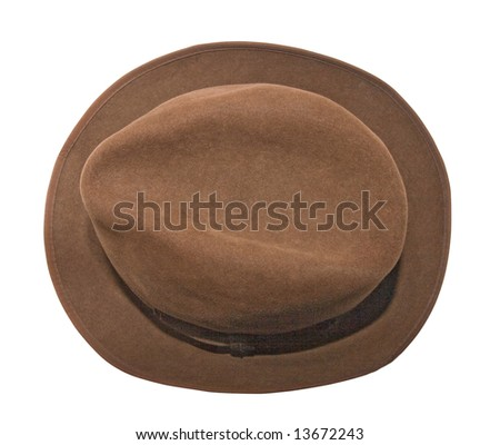 An isolated photo of a woman brown hat, view from above