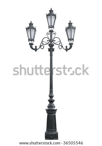 An isolated photo of an old street lamppost