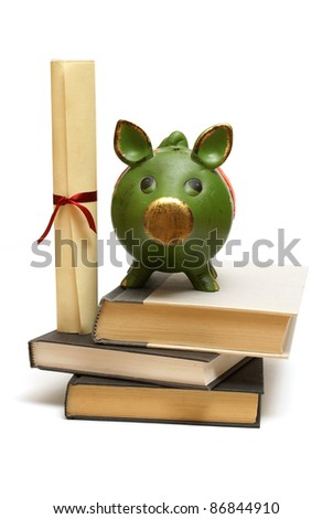 An isolated pig bank and diploma scroll represent educational finances.