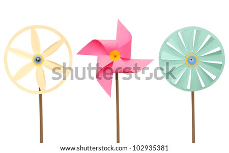 An isolated pink pinwheel on white