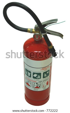 An isolated shiny red fire extinguisher