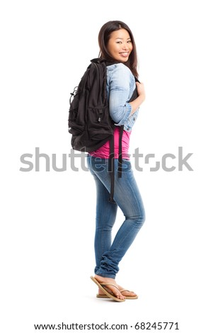 An isolated shot of a beautiful asian college student