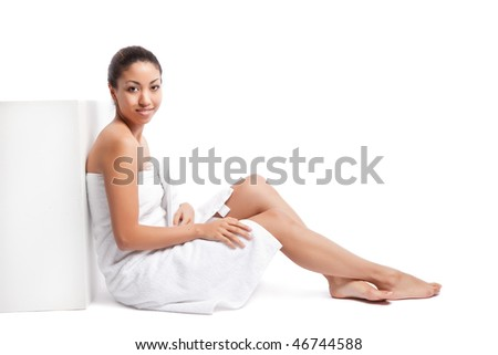 An isolated shot of a beautiful black woman in the spa