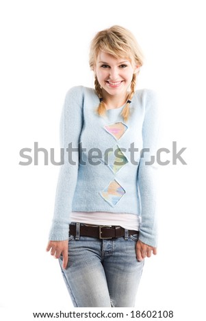 An isolated shot of a beautiful caucasian girl