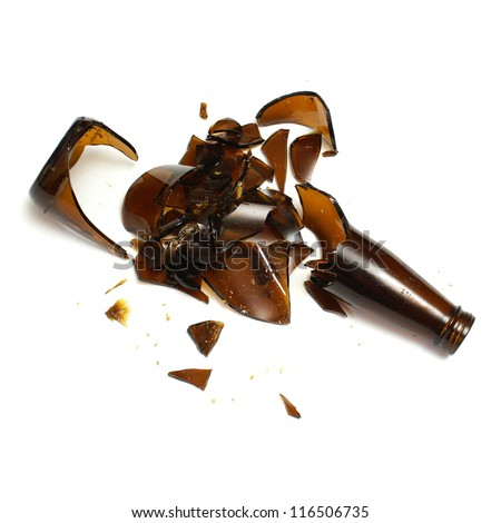 An isolated shot of a broken beer bottle.