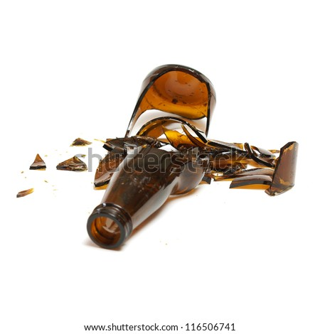 An isolated shot of a broken beer bottle. - stock photo