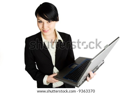 An isolated shot of a businesswoman with a laptop
