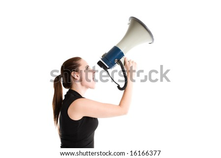 An isolated shot of a caucasian businesswoman shouting on a megaphone