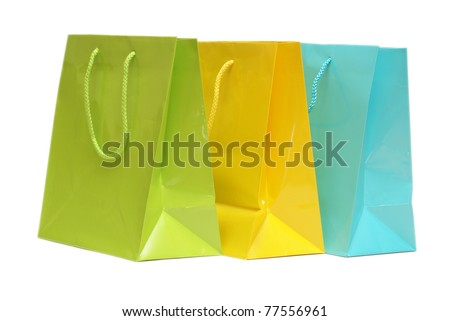 An isolated shot of a few gift bags to put gifts in.