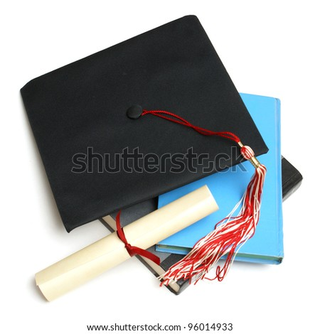 An isolated shot of a Grad hat and books from a high achieving student.
