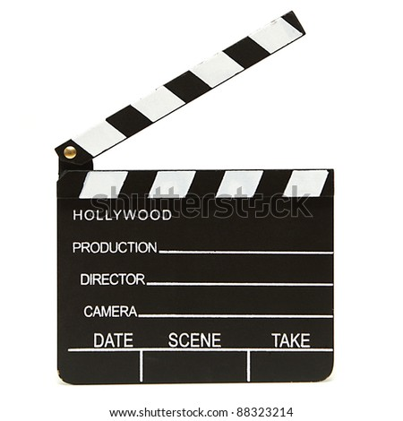 An isolated shot of a hollywood clapboard for film production.