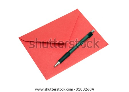 An isolated shot of a red envelope with a pen for someone to write a note or letter of correspondence.