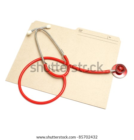 An isolated shot of a red stethoscope and medical folder.