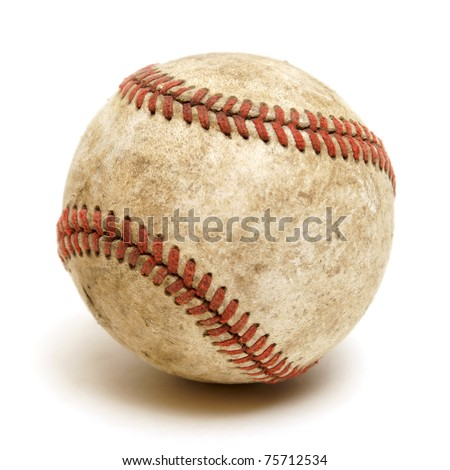 An isolated shot of a well used baseball.